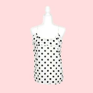 Ro&De White Sleeveless Polka Dot Ruffled Top